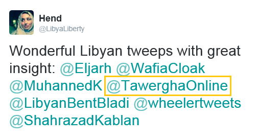 Tawergha Foundation Twitter account mentioned as insightful between Libya's most influential accounts